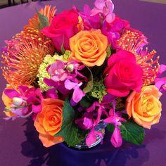 #c2mdesigns #floral #floraldesign #centerpiece #roses #protea #orchids #mokara #hydrangea #gerbers #jeweltones #hot #vibrant #style #corporateevent #event #boston #designsthatrock #likeC2MdesignsFacebook Designer: #christinemccaffery