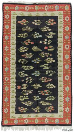 Finely woven, vintage Romanian kilim rug around 40 years old and in very good condition.