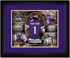 Your Name on a Vikings jersey as the #1 Draft Pick, with other football star players of your favorite NFL team, Framed Poster
