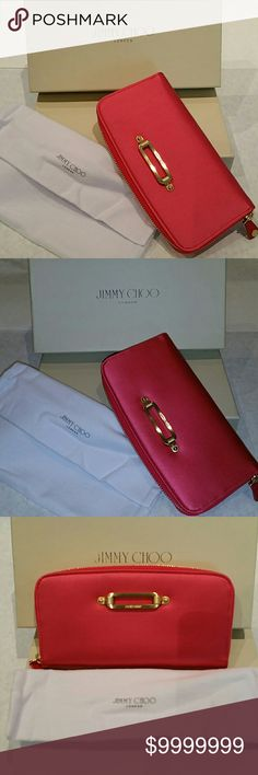 Jimmy Choo Wallet Satin + Gold Jimmy Choo Wallet Satin + Gold  100% Auth Hot Pink satin Immaculate  Never carried Perfect condition No marks, snags, scratches, stains, defects, blemishes, rips, tears Absolutely NO signs of any wear  Sleek and designed to fit all your cash, cards and receipts. Includes original box and dustcover. Jimmy Choo Bags Wallets