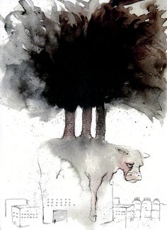 lou barberio, illustration for negative impact of meat industry on environment