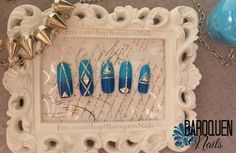 Blue And Silver Ombre Geometric False Nail Set - Hand Crafted 3d Nail Art  By BaroquenNails #nailart #nails
