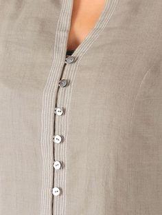 Olive Stitch Detailed Khadi Tunic