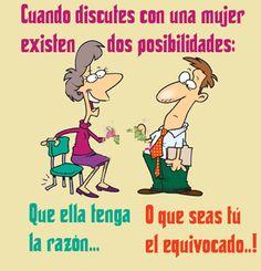 Posibilidades al discutir con una mujer. #bromas #risas #masquebromas