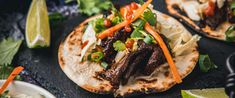 This Korean Short Rib Tacos recipe is one of our favorite fusion dishes. The flavors combine perfectly and will have you craving them every Taco Tuesday! Short Rib Tacos Recipe, Korean Short Ribs, Korean Tacos, Mexican Tacos, Homemade Tortillas, Fusion Food, Taco Tuesday, Wok, Cravings
