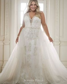 Sophia Tolli Olympia - A tale of two dresses, Olympia is a two-piece misty tulle, organza and beaded lace appliqué fit and flare gown offering illusion lace straps and a deep plunging V-neckline with a matching sheer modesty pane Second Wedding Dresses, Plus Size Wedding Gowns, Plus Size Gowns, Lace Wedding Dress, Wedding Dress Shopping, Perfect Wedding Dress, Bridal Wedding Dresses, Cheap Wedding Dress, Plus Size Brides
