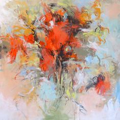 There Were Flowers 30x30 acrylic on canvas Debora Stewart by Debora Stewart Acrylic ~ 30 x 30