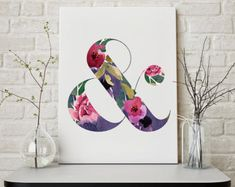 Floral Ampersand Printable Art INSTANT DOWNLOAD #homedecor #decor