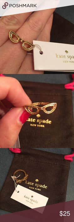 Kate spade multi glitter goreski glasses ring NWT. The glasses are multi glitter. Gold band. Shows Kate spade New York on inside of band. Comes with dust bag. Size 6 ring kate spade Jewelry Rings
