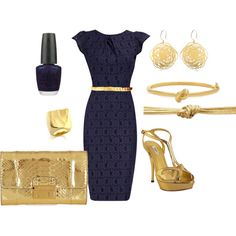 Navy/Gold, created by marlyce3.polyvore.com
