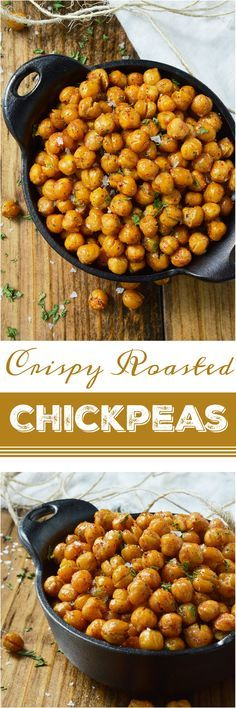 If you're looking for a healthy snack to satisfy that salty, crunchy craving, these Crispy Roasted Chickpeas are it! Learn how to toast chickpeas in the oven making them a nutritious high protein snack recipe. vegan, vegetarian #ad