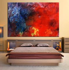 colorful abstract painting palette knife wall art canvas oil