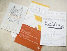 yellow and orange invitation suite, photo by Paperlily Photography