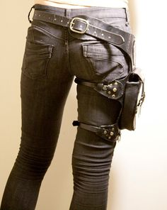 Black leather holster belt bag straps post apocalyptic rough chic fashion