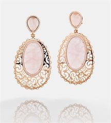 HALA EARRINGS: rose gold, rose quartz