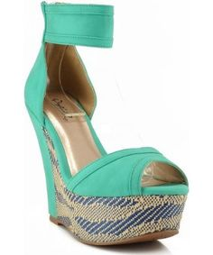 Qupid Finder-109 Ankle Strap Raffia Platform Wedge SEA GREEN,$28.90