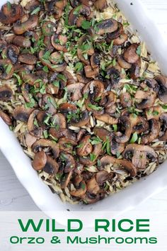 Cooked wild rice and orzo are mixed with sauteed mushrooms orzo creating the simplest, yet earthy and most satisfying Wild Rice Orzo and Mushroom Casserole. #wildricerecipes #wildrice #orzorecipes #mushroomrecipes #casserolerecipes #sidedishes via @Bakersbeans Mexican Side Dishes, Rice Side Dishes, Best Side Dishes, Food Dishes, Fun Easy Recipes, Popular Recipes, Side Dish Recipes, Easy Meals, Healthy Recipes
