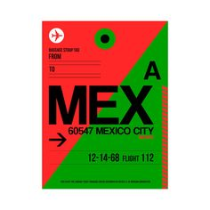 Inspired by luggage tags and air travel, this Naxart Luggage Tag Print is all about the Benito Juárez International Airport in Mexico City. ...