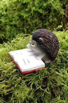 Hedgehog miniature figurine hedgie reading a book dollhouse