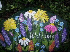 Hand-Painted White Daisies Garden Rock  by nancymaggielee      Hand-Painted Hollyhocks, Irises and Daisies Garden Rock  by nancymaggielee ...