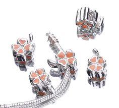 European Charms Screw Orange Rhinestone Silver Butterfly Loose Beads Stopper Fit Bracelet