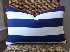 CUSTOM PIPING COLORS Outdoor Navy and White Cabana Stripe