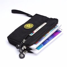 Universal Multifunctional Three Zipper Canvas Wallet Case Phone Bag for under 6 inches Smartphone