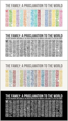 ***NEW Style*** LDS Family Proclamation . Do you prefer Long & skinny. Enjoy this 16x32 style included with the 16x20's. Perfect for memorizing as a family!