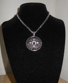 Swarovski crystal Round Filigree pendant by CreationsbyMaryEllen, $12.99