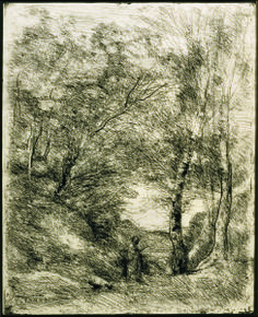 Jean Baptiste Camille Corot Le jardin d'Orace,1855, cliché –verre, cm 38×30.9.
