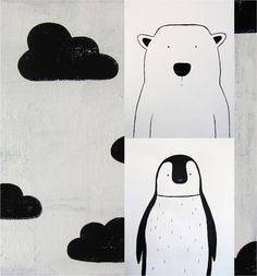 Simple, stylish and striking black and white original art for a nursery or kids room. It's not often I come across such delightful original art for kids.