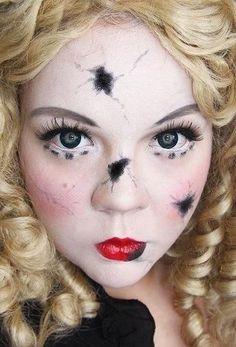 Broken doll make-up for Halloween.