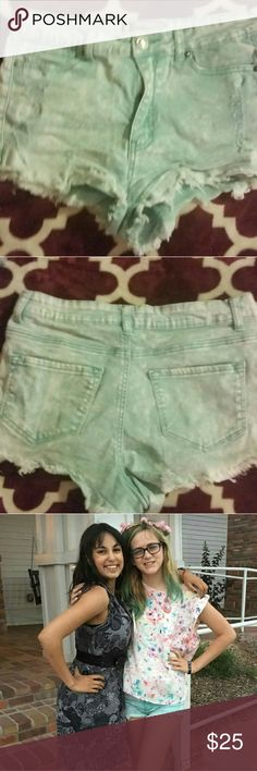 Blue green shirts Really pretty light blue green shorts for spring size Large. I would say these fit a medium/Large  Make any offer everything must go. Shorts