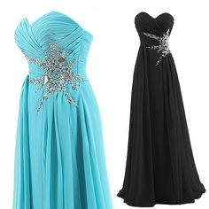 Tidetell.com Women's Sweetheart Beading Floor-length Chiffon Prom Dress