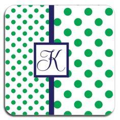 Green and blue polka dot coaster set, $38.00