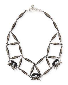 Larkspur Crystal Web Necklace, Black