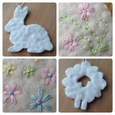 Easter decorations, felted wool, embroidery
