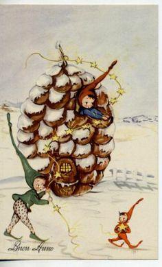 New Year Elf Gnomes Snow Vintage PC Circa 1940 ITALY
