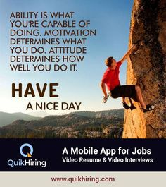 Mobile Job App for Job Seekers & Recruiters - QuikHiring Video Resume, Job Posting, Job Search, Attitude, Interview, App, Motivation, Create, Mindset