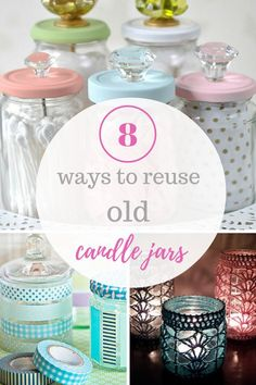 Repurpose your old candle jars with these fun projects!   DIY Home, Home DIY, Home Improvement, Home Improvement Projects, Candle Jars, Candle Jar Uses