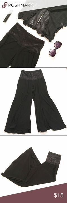 Maurice's Gaucho Pants Maurice high waisted gaucho pants with lace accented waist. Great for the office or just lounging around the house!! Feel free to ask questions! Reasonable offers are considered, no trades please. Maurices Pants Capris