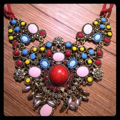 BOHEMIAN NECKLACE Red rope necklace, beautiful bohemian pendant. Handmade. Jewelry Necklaces