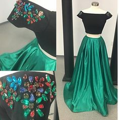 Two Piece Prom Dresses,Real Photo Prom Dress,Crystal Long