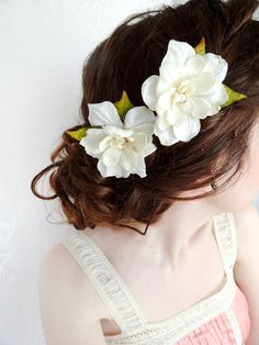 twiggy ivory hair accessory ETOLIA pink cherry by thehoneycomb