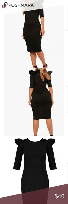 Plus Size Sexy Midi Dress Nwt plus size black midi dress with 3/4 sleeves and ruffled shoulder top. Size 16. True to Size. Dresses Midi
