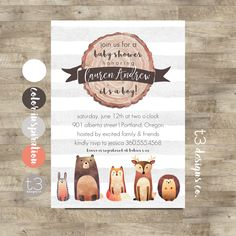 Woodland Baby Shower Invitation Printable, woodland baby shower, forest animals, fairytale friends, woodland creatures, baby boy shower, T2 by T3DesignsCo on Etsy https://www.etsy.com/listing/489645516/woodland-baby-shower-invitation