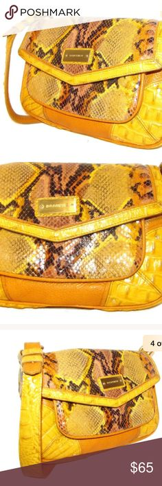 "💛BRAHMIN Croc Embossed & Snakeskin Shoulder Bag ✨Excellent Condition.   📌Exterior Color: Yellow & Beige Material: Genuine leather croc emboosed and snakeskin Closure: Flap magnetic closure Pockets: One zippered pocket  front & one large pocket back Handles /Strap: Single strap Can be used like clutch  📌Interior Pockets: One zippered, two small pockets ~ Key holder Lining: Beige signature fabric  📌Measurements  Height: 7""  Length: 11""  Depth: 2"" Strap Drop: 11 1/2""…"