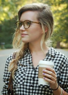 side braid, glasses, top.