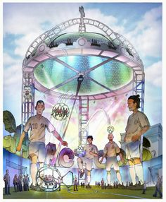 """Storyboard sketch for """"World Cup Juggling"""" thrill ride, from """"Sketches for a proposed theme park for one of the world's most famous (European) football teams."""""""