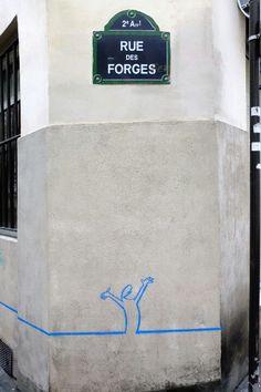 Paris sentier - rue des forges - linea - street art
